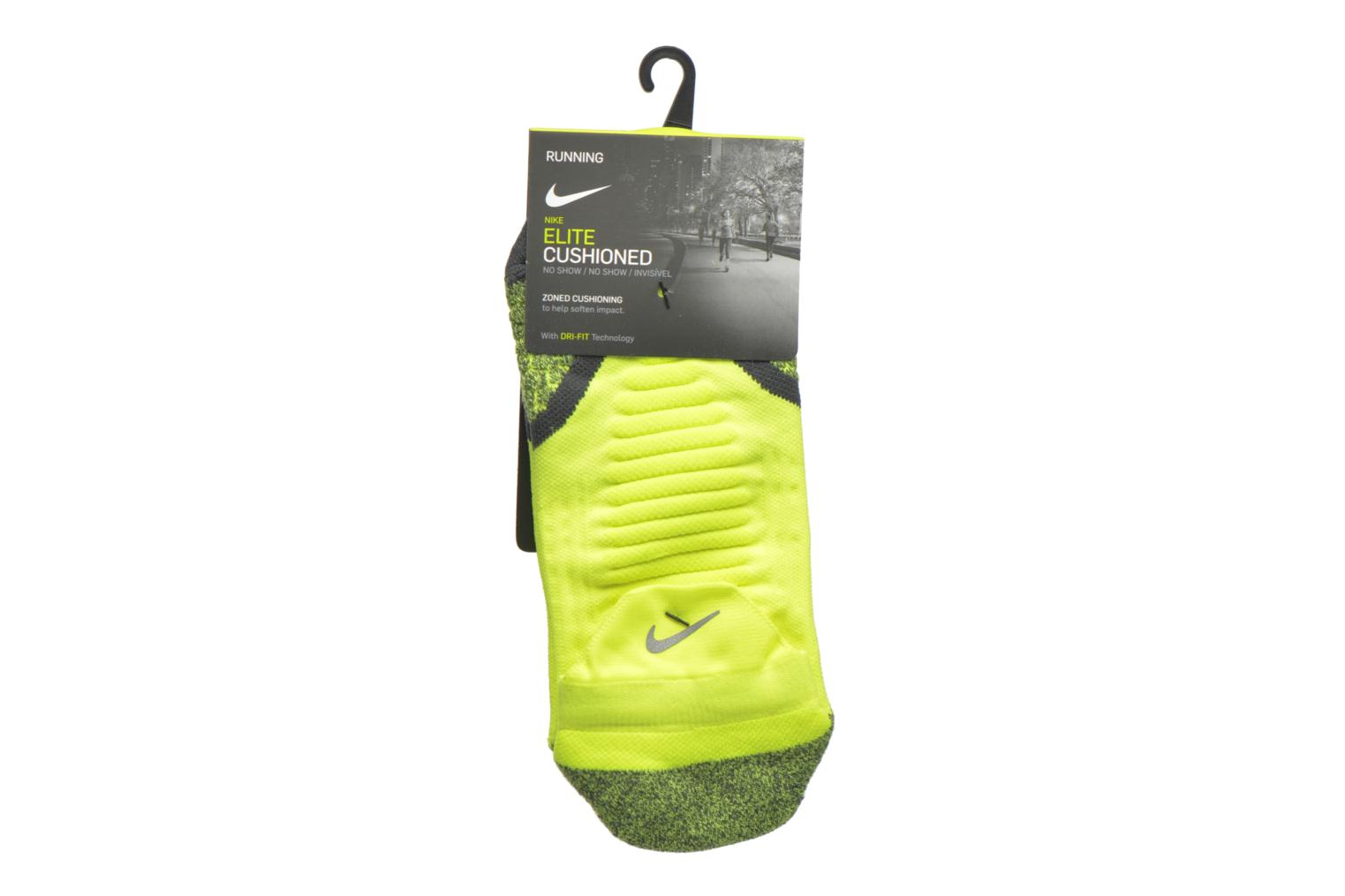 Nike Elite Cushioned No-Show Tab Running Sock VOLT/ANTHRACITE/(ANTHRACITE)