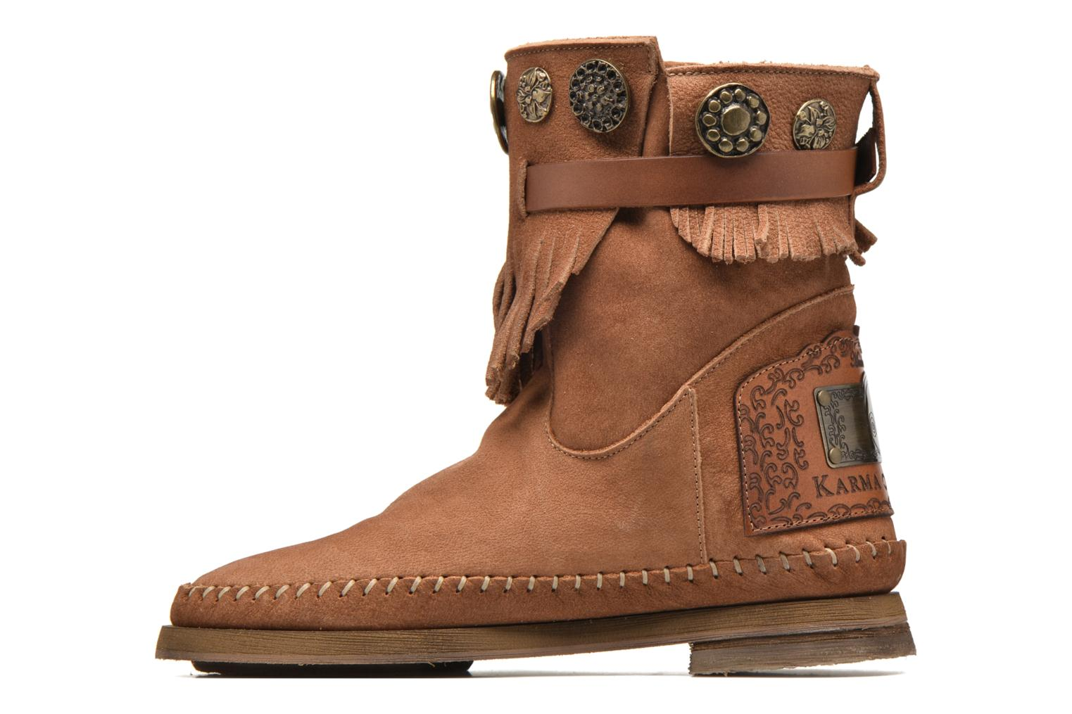 Ankle boots Karma of Charme Way Belt Buf Brown front view