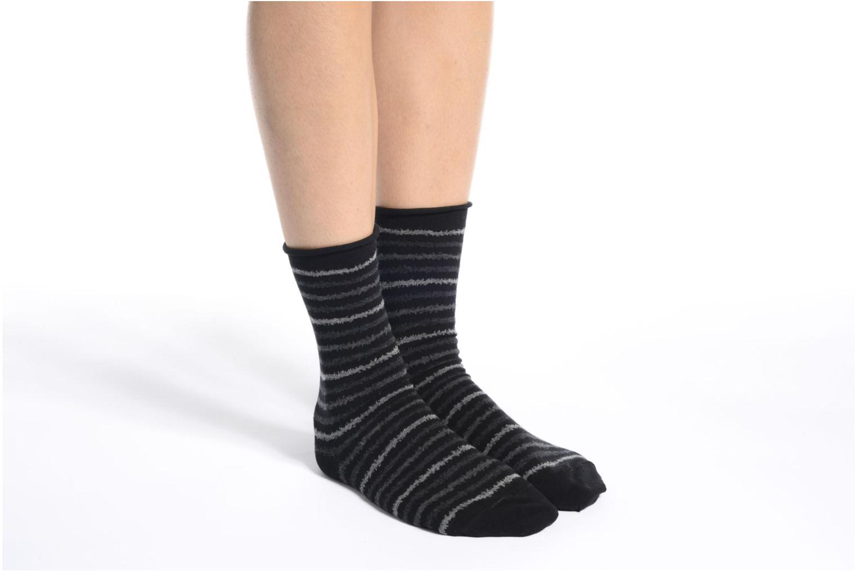 Chaussettes et collants BLEUFORÊT Chaussettes coton rayures Noir vue haut