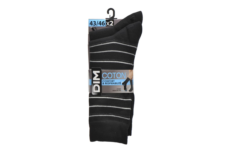 Chaussettes et collants Dim Chaussettes Rayures fines Pack de 2 Noir vue derrière