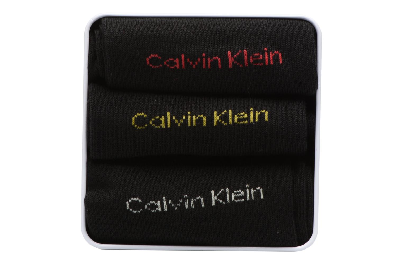 Chaussettes et collants Calvin Klein Boite cadeau métal Lot de 3 Noir vue portées chaussures