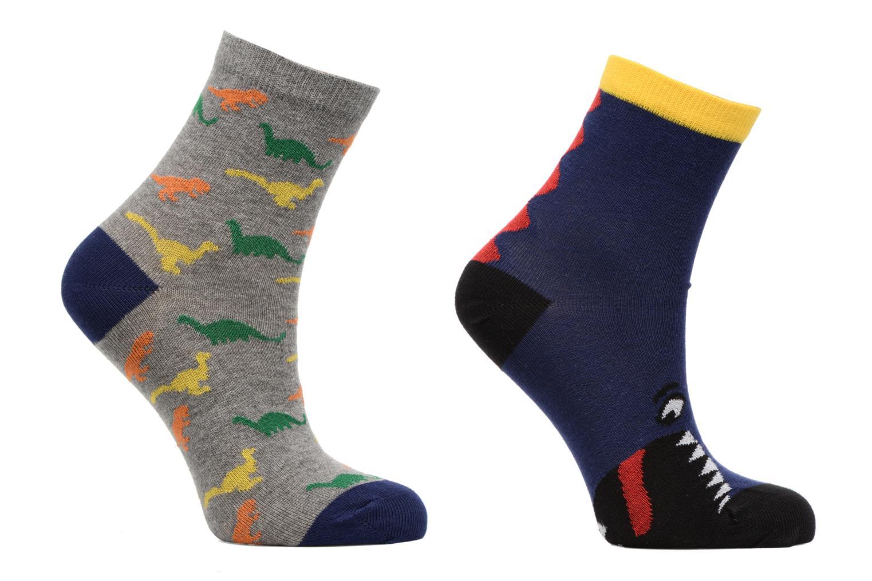 Chaussettes dinosaures Pack de 2 enfant coton Bleu/jaune/gris