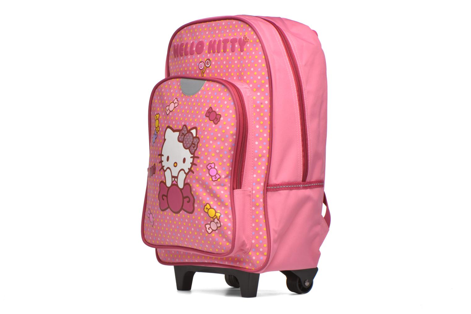 Scolaire Hello Kitty Hello Kitty Sac à dos à roulettes Rose vue portées chaussures