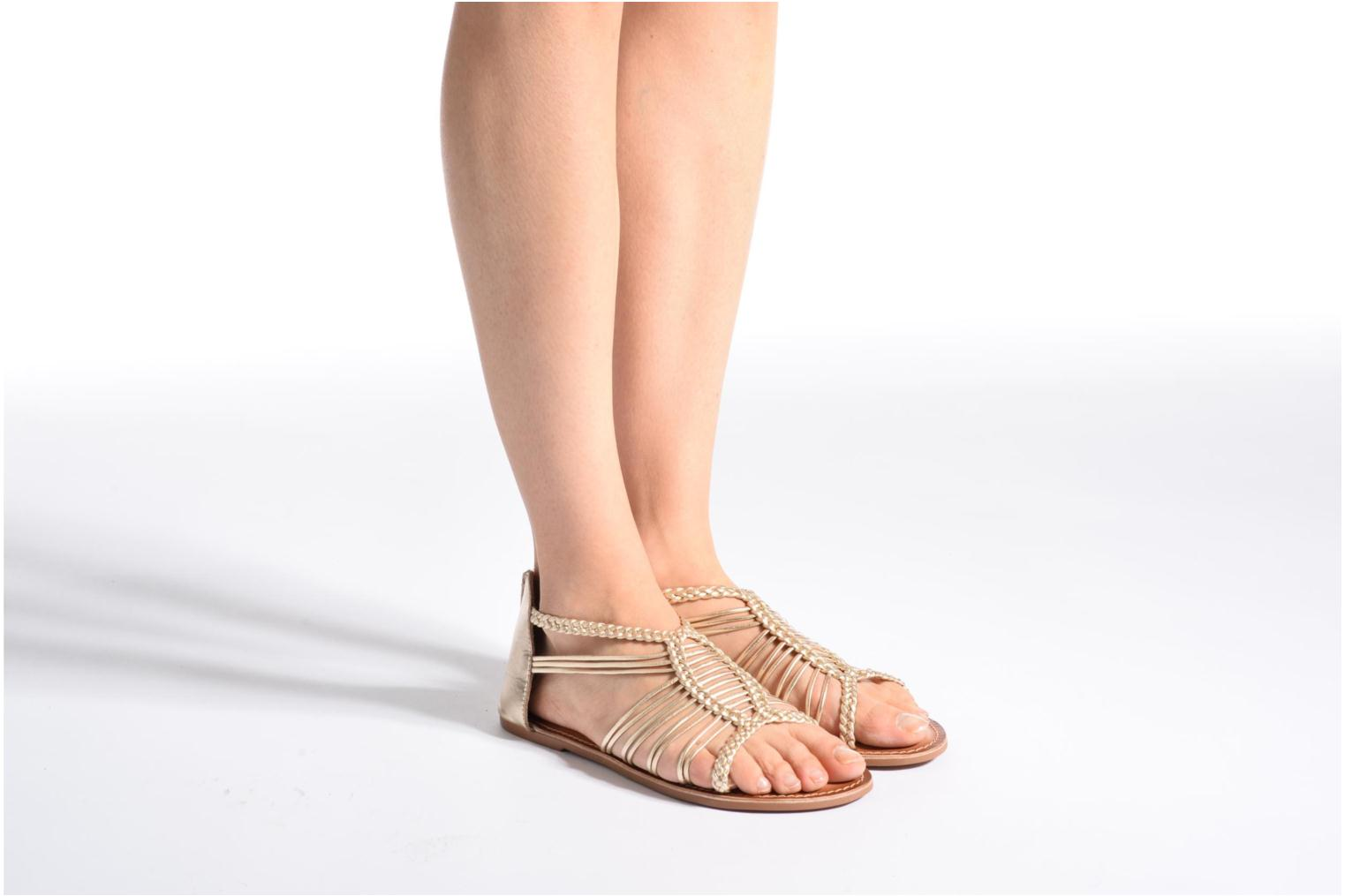 Sandals I Love Shoes KEMIA Leather Brown view from underneath / model view
