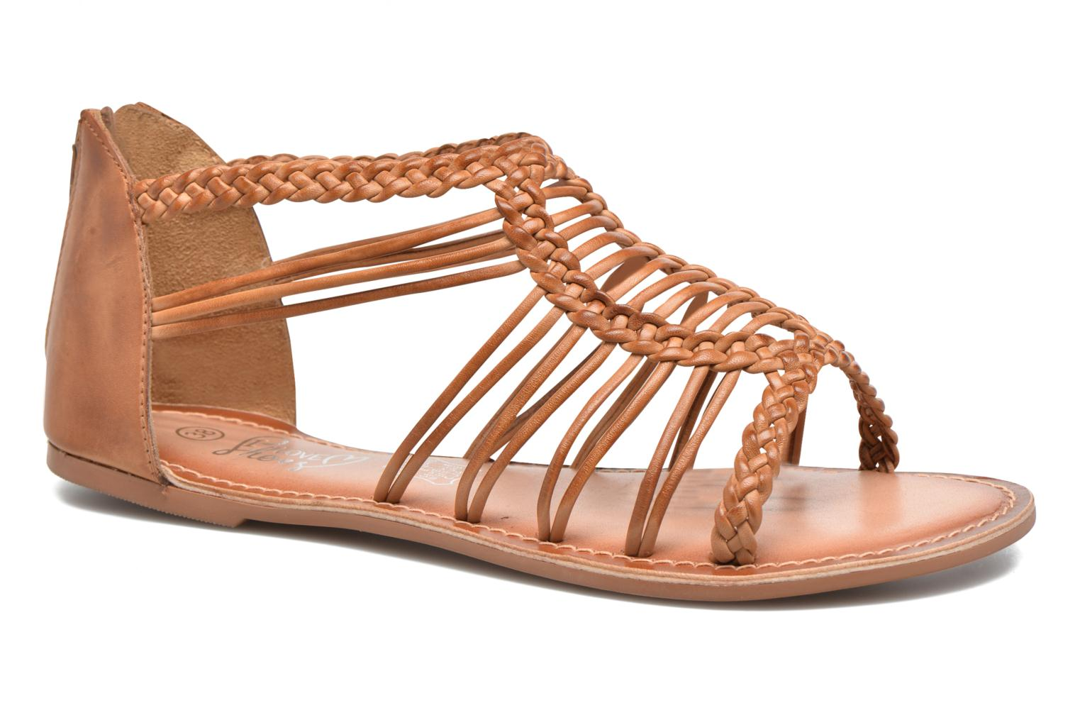 Sandals I Love Shoes KEMIA Leather Brown detailed view/ Pair view