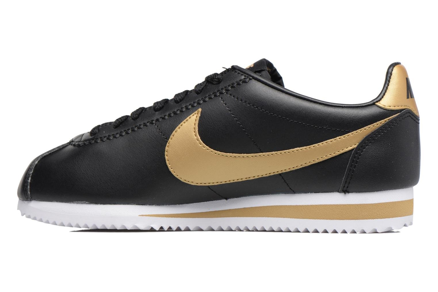 Wmns Classic Cortez Leather Black/metallic gold