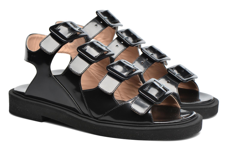 Sandales et nu-pieds Carven Heritage Buckle Sandal Noir vue 3/4
