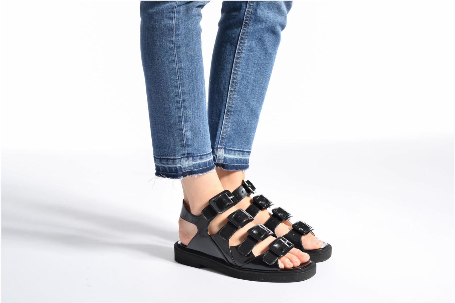 Sandals Carven Heritage Buckle Sandal Black view from underneath / model view