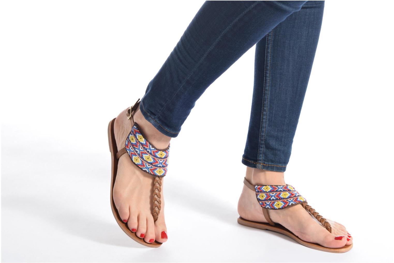 Sandales et nu-pieds Pieces Pscarol Marron vue bas / vue portée sac