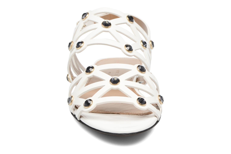 Sandales Strass Veau Glacé Ajouré Blanc