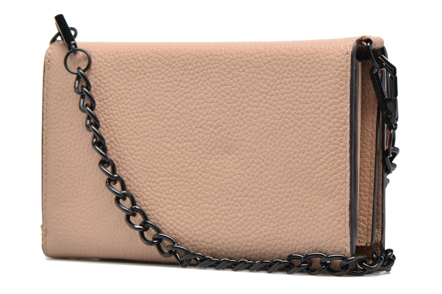 Fringe Leather crossbody phone holder Nude