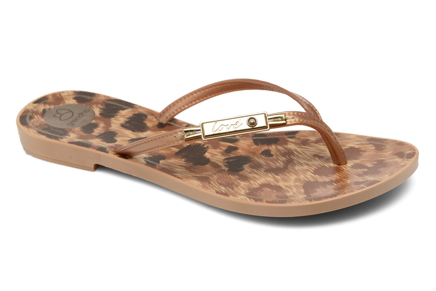 Flip flops Grendha Paixao Thong Bronze and Gold detailed view/ Pair view