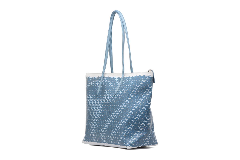Sacs à main Lacoste L1212 Shopping bag Croc L Bleu vue droite