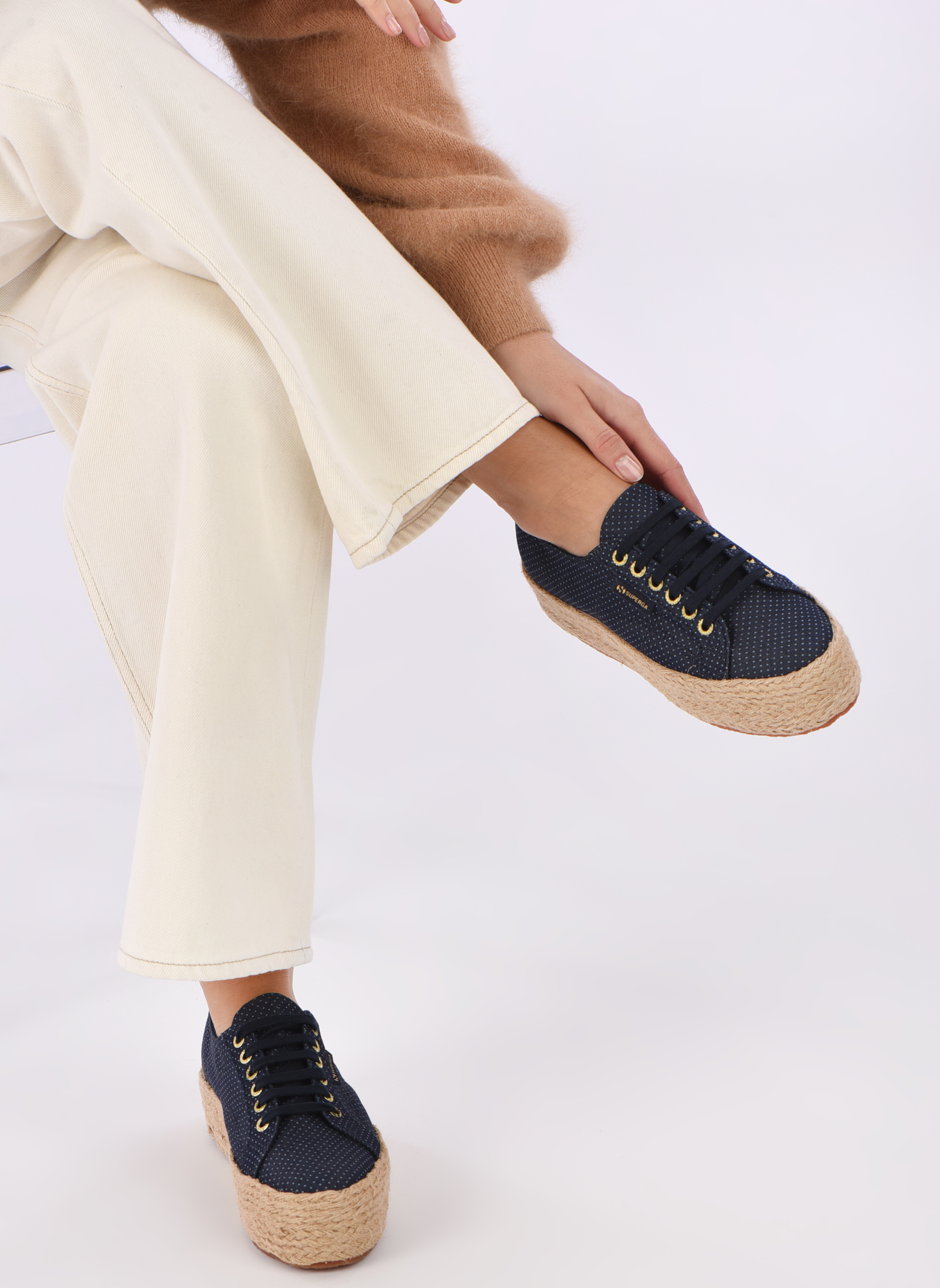 Espadrilles Superga 2790 Fabric Shirttrope W Blue view from underneath / model view