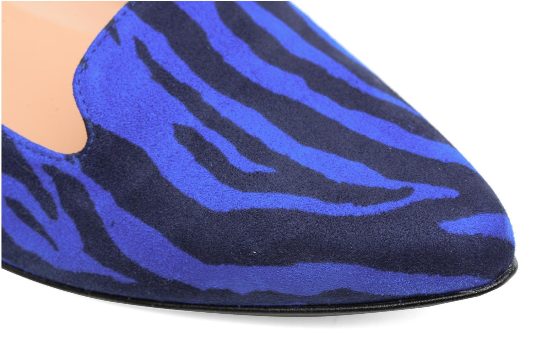 Bombay Babes Mocassins #1 Imprimé Zèbre Bleu Cuir Velours