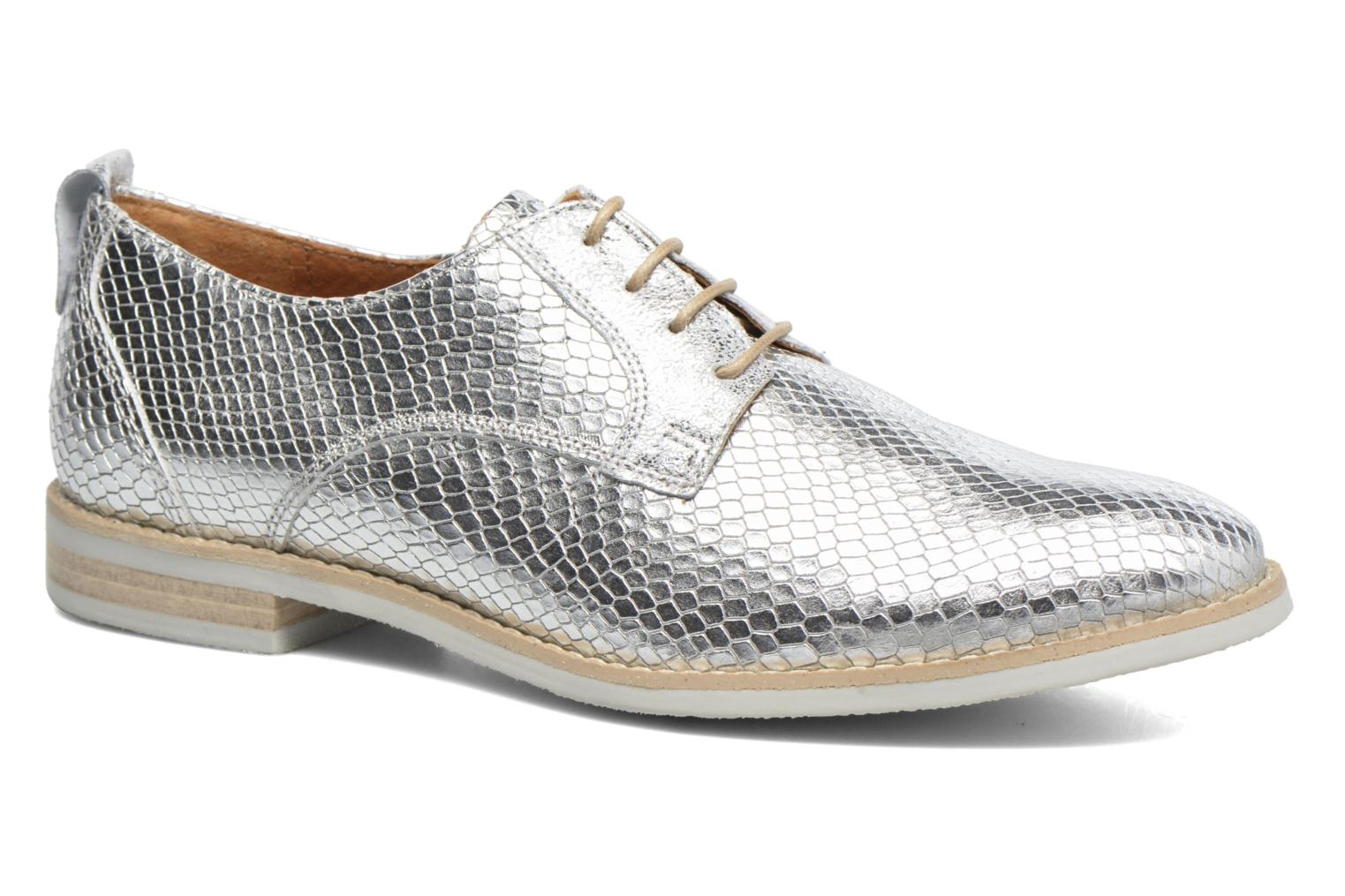 Lace-up shoes Georgia Rose Nitrou Silver detailed view/ Pair view