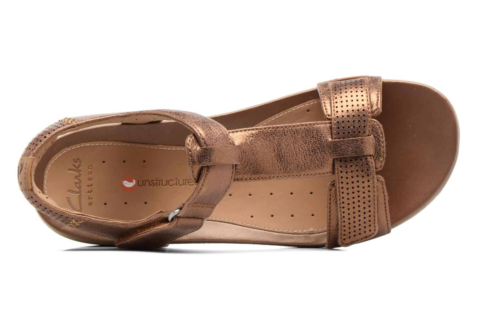 Sandals Clarks Unstructured Un Haywood Brown view from the left