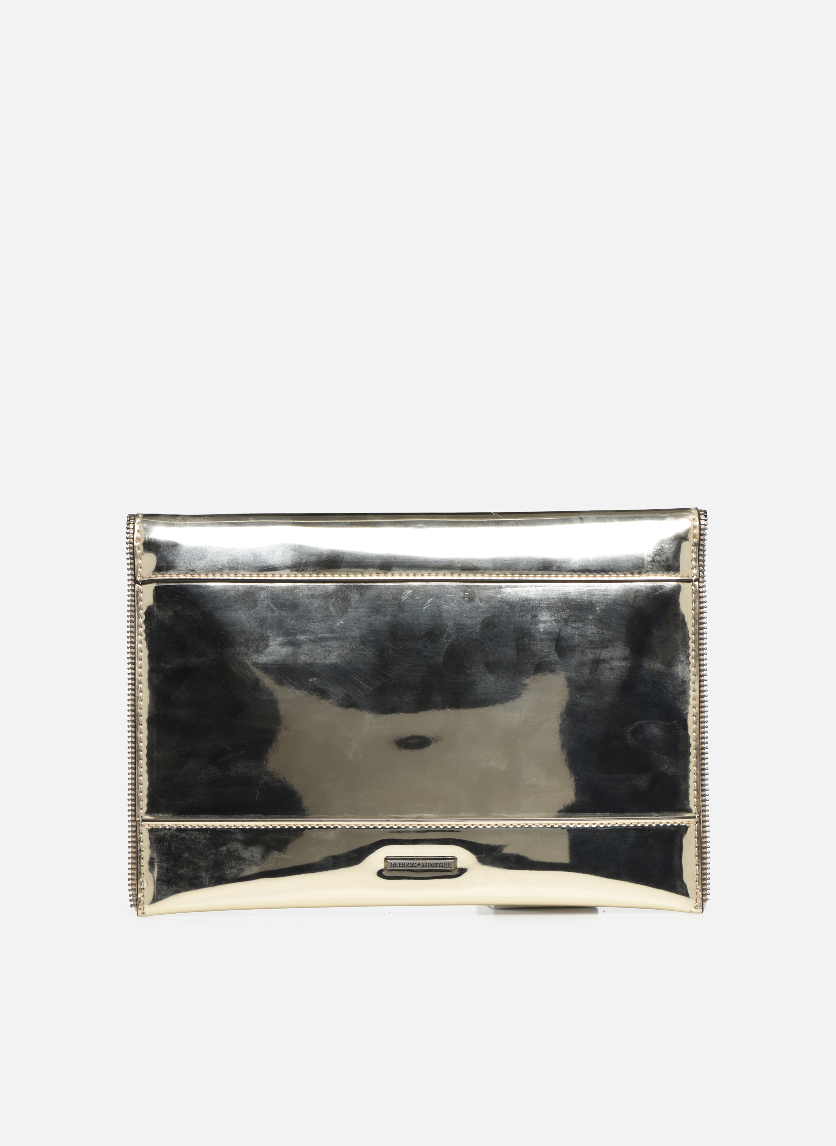 Sacs pochettes Rebecca Minkoff MIRRORED METALLIC LEO CLUTCH Or et bronze vue face