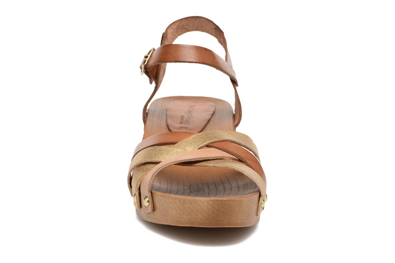 Sandales et nu-pieds Les Tropéziennes par M Belarbi Pluie Marron vue portées chaussures
