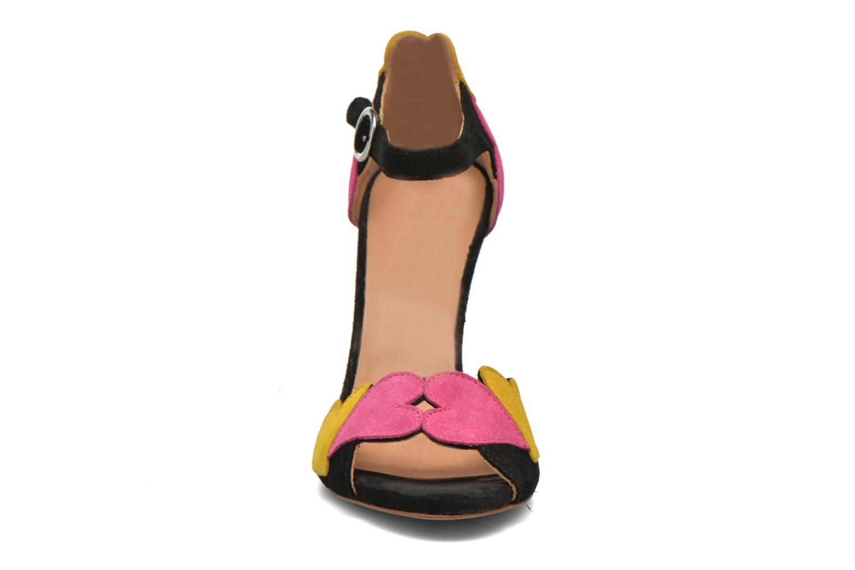 Heart Shaped Sandals Fuschia Black White