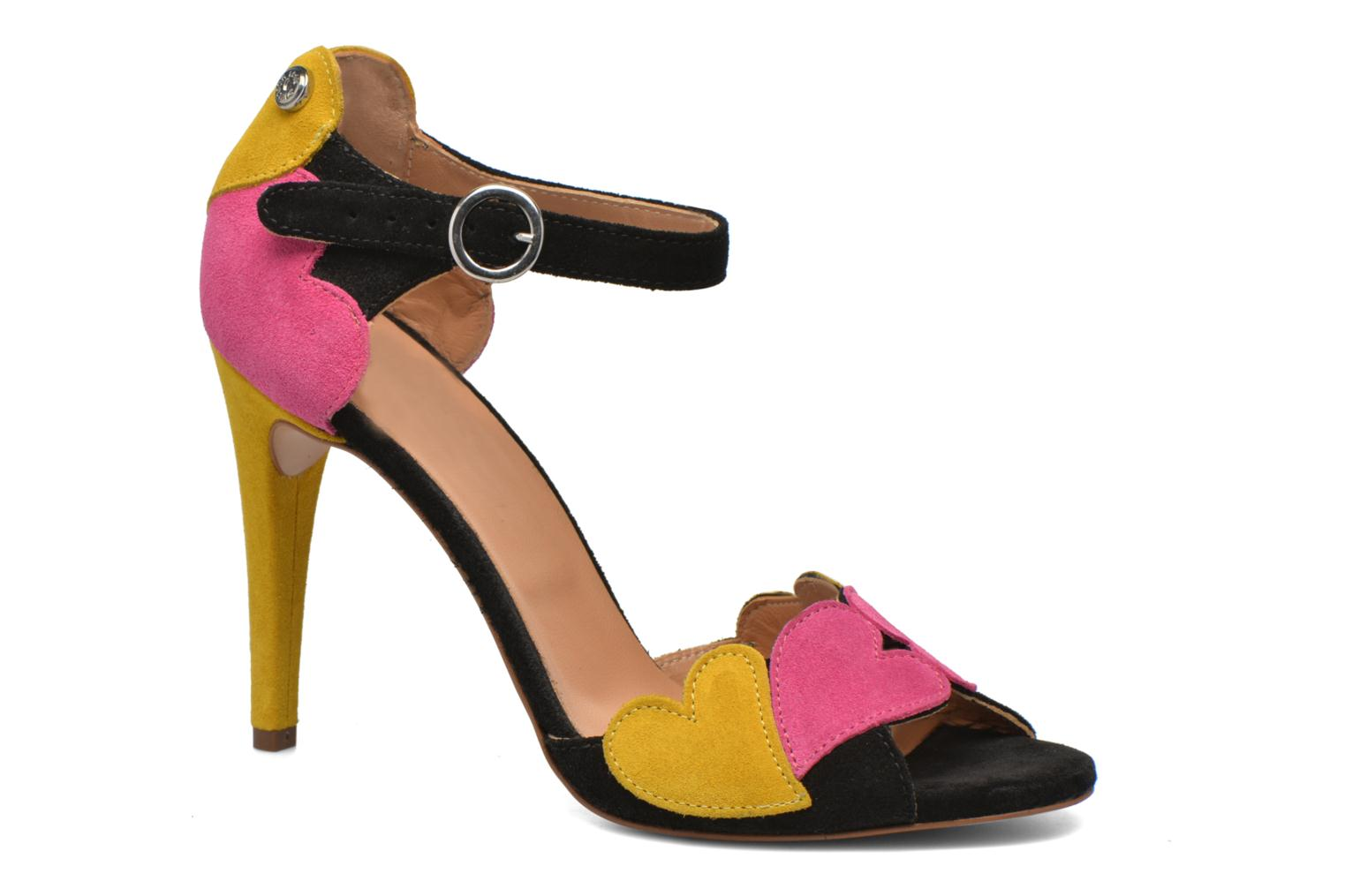 Heart Shaped Sandals Fuschia Black White