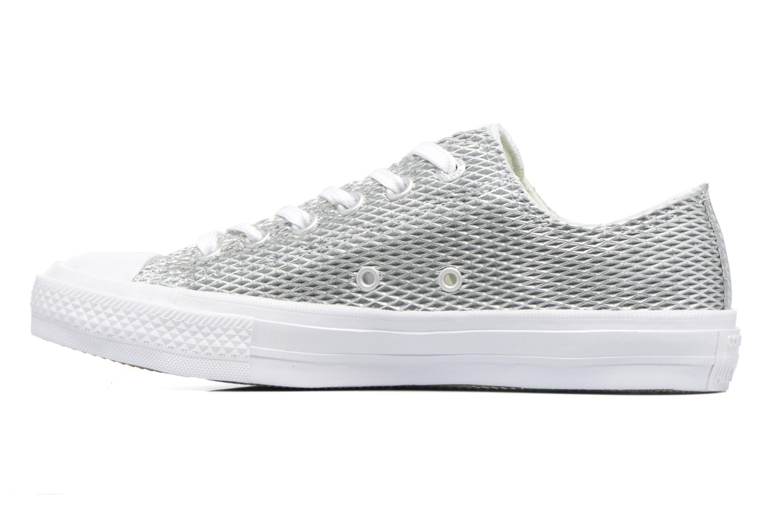 Deportivas Converse Chuck Taylor All Star II Ox Perf Metallic Leather Plateado vista de frente
