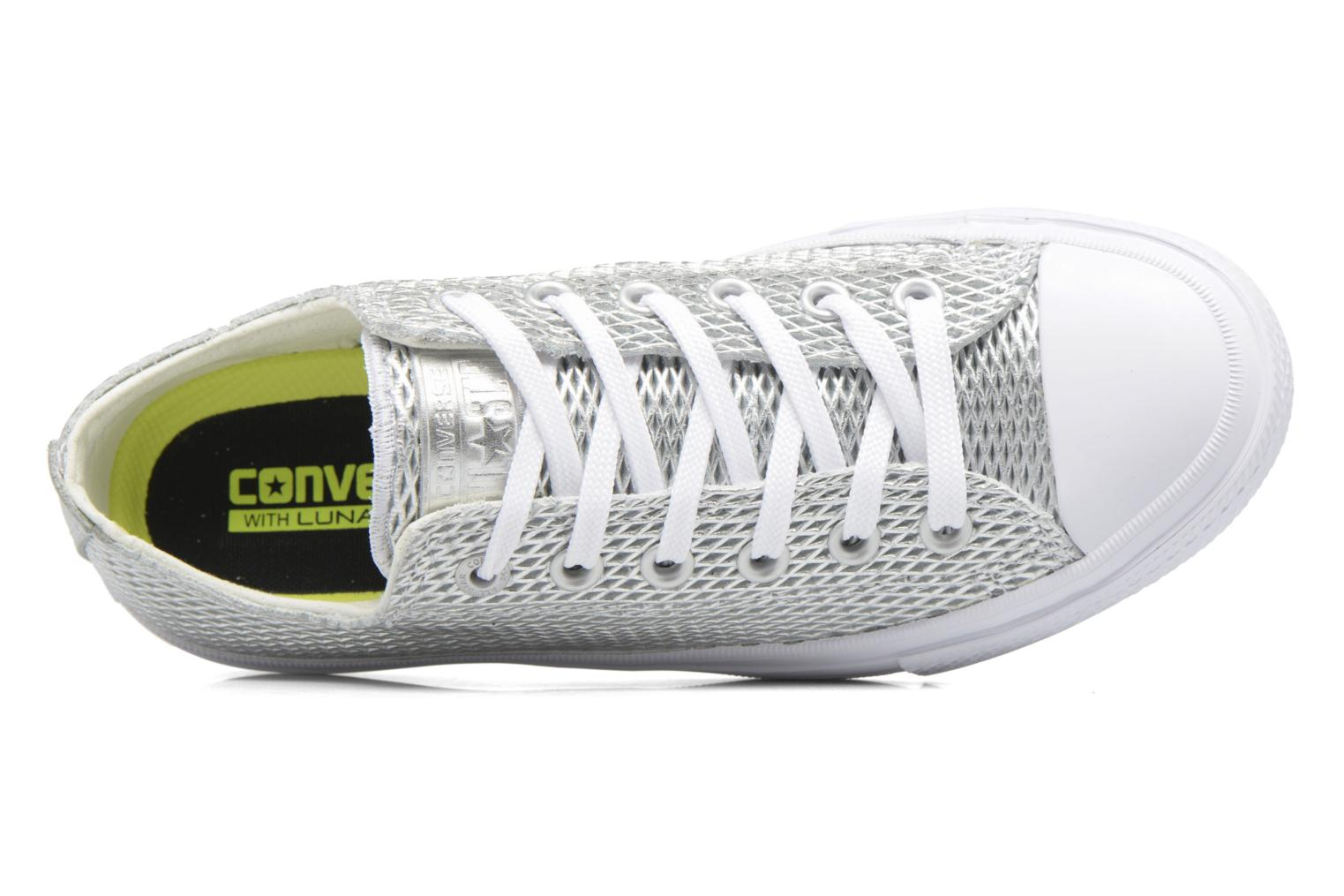 Deportivas Converse Chuck Taylor All Star II Ox Perf Metallic Leather Plateado vista lateral izquierda