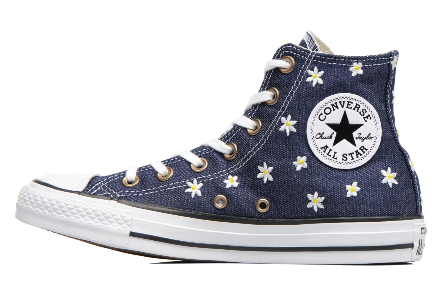 Baskets Converse Chuck Taylor All Star Hi Denim Floral Bleu vue face