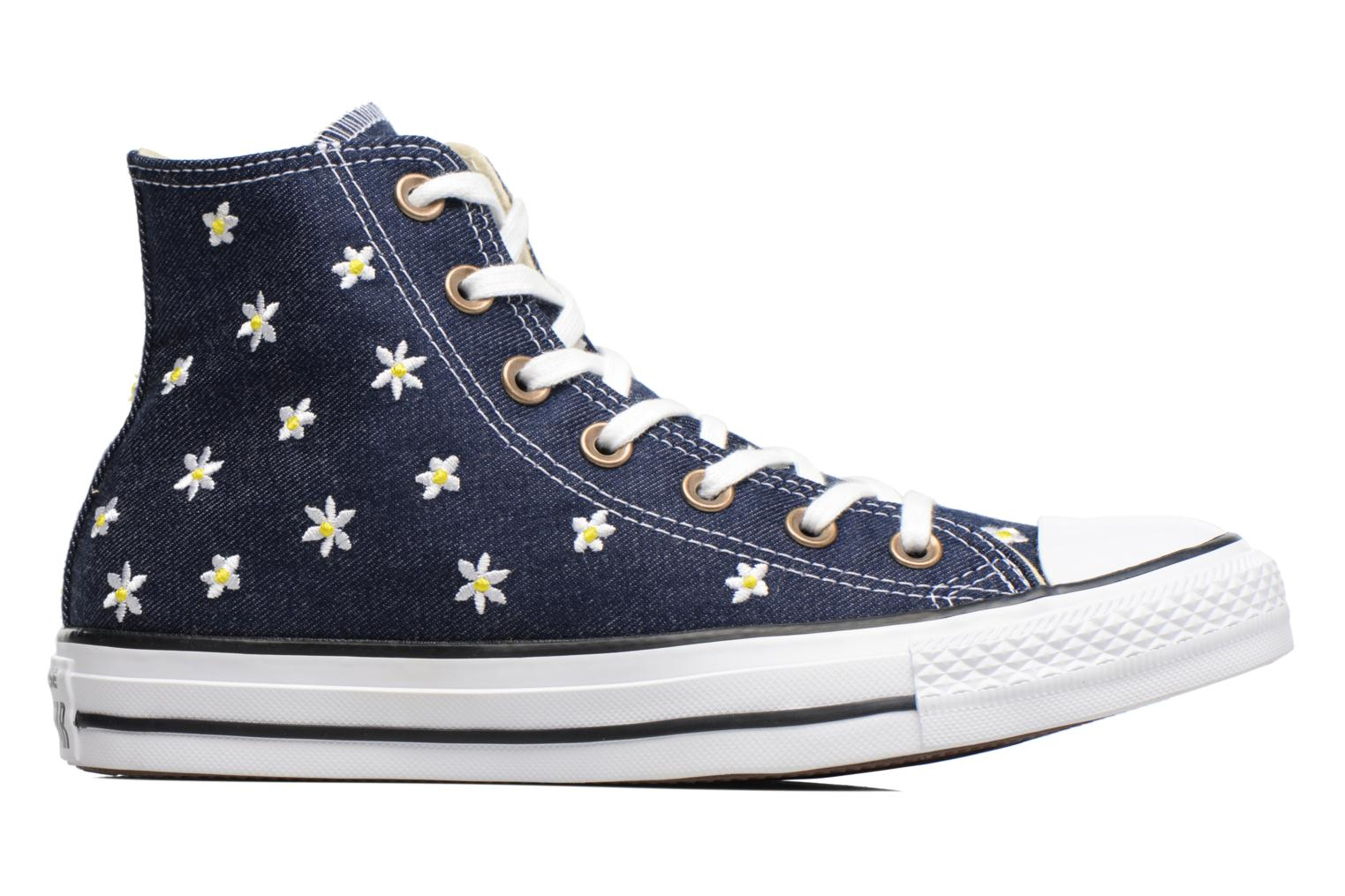 Baskets Converse Chuck Taylor All Star Hi Denim Floral Bleu vue derrière