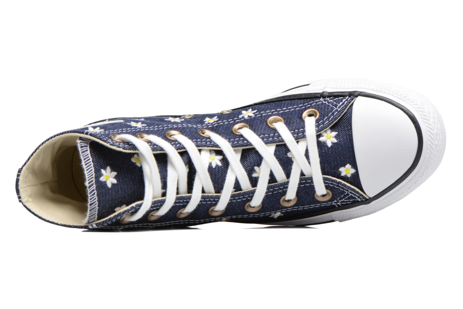Baskets Converse Chuck Taylor All Star Hi Denim Floral Bleu vue gauche