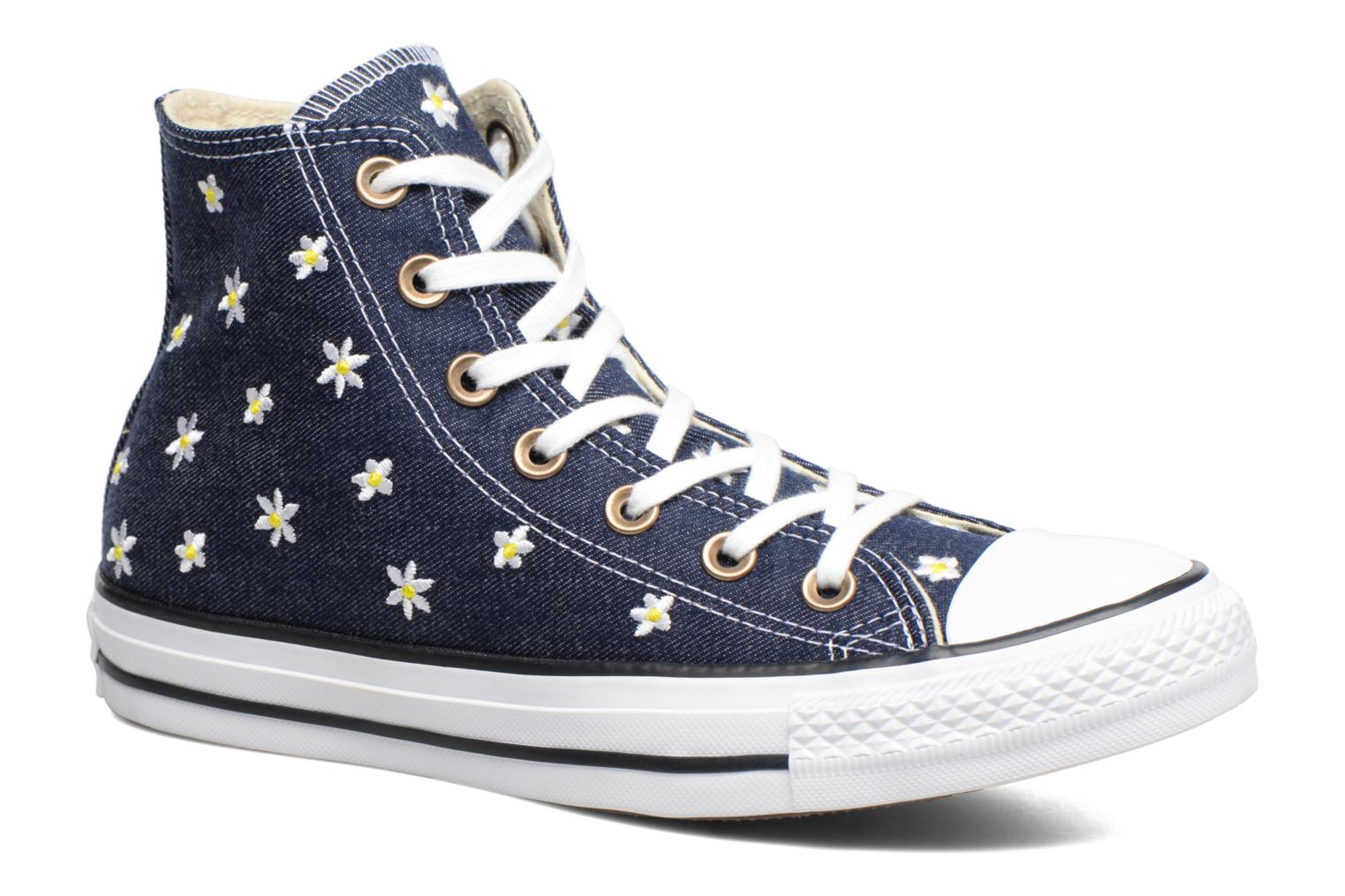 Baskets Converse Chuck Taylor All Star Hi Denim Floral Bleu vue détail/paire