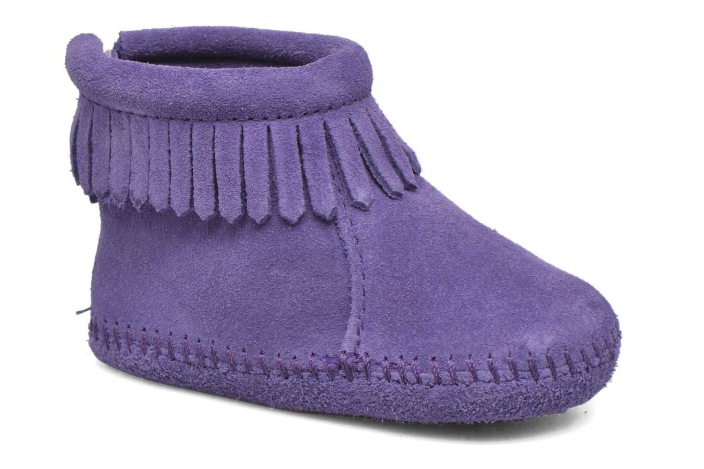 Back Strap Bootie Purple Suede