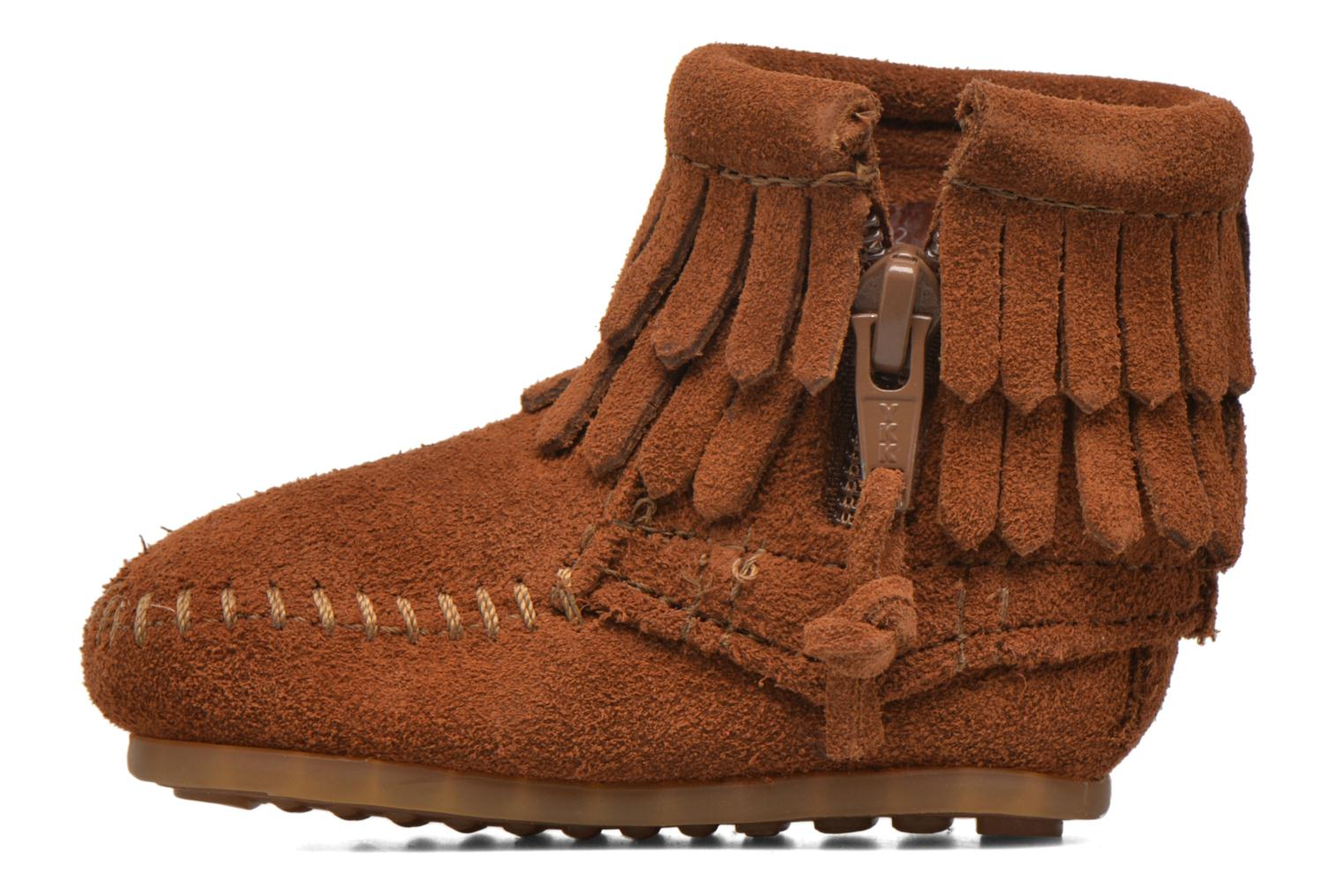 Stivaletti e tronchetti Minnetonka Double Fringe side zip boot B Marrone immagine frontale