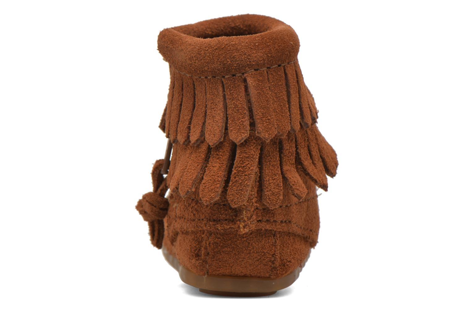 Double Fringe side zip boot B Brown Suede