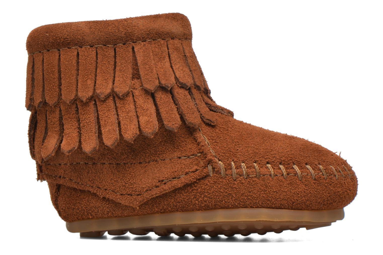 Double Fringe side zip boot B Brown Suede