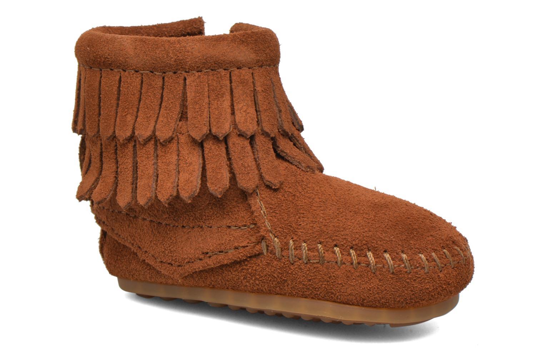 Bottines et boots Minnetonka Double Fringe side zip boot B Marron vue détail/paire
