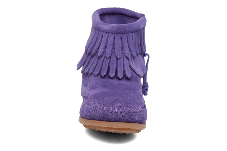 Bottines et boots Minnetonka Double Fringe side zip boot E Violet vue portées chaussures