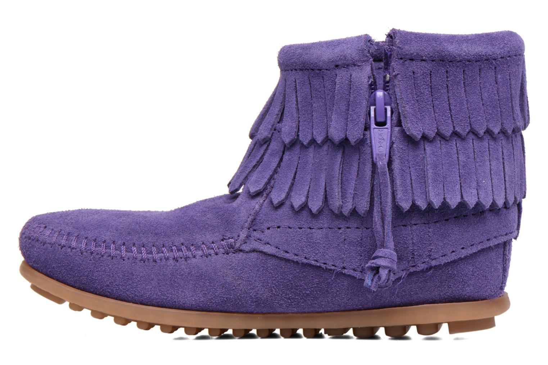 Double Fringe side zip boot E Purple Suede