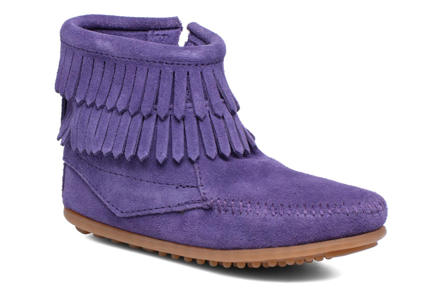Double Fringe side zip boot E Purple Suede