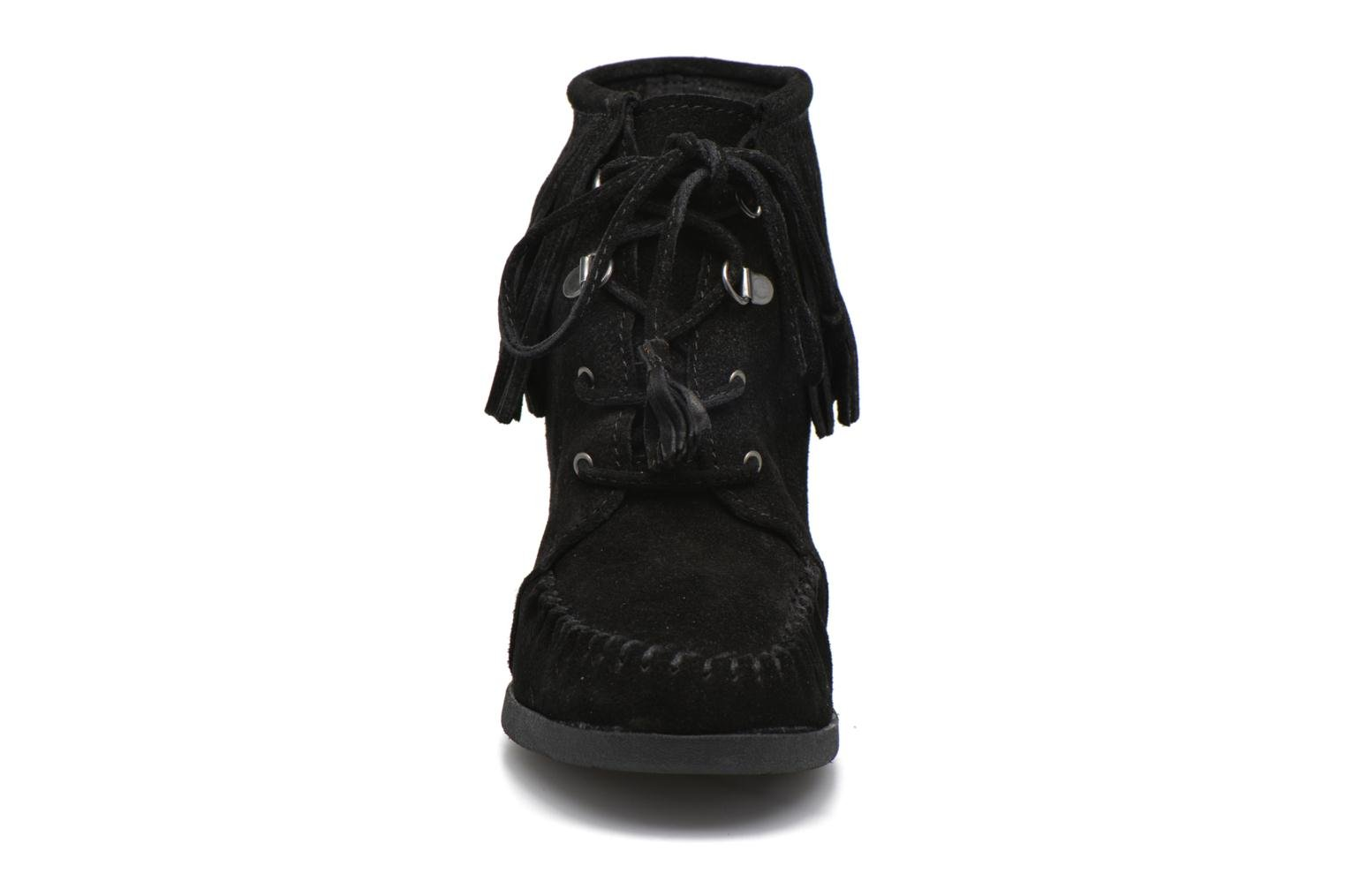 Lace-Up Fringe Ankle Wedge Boot Black Suede