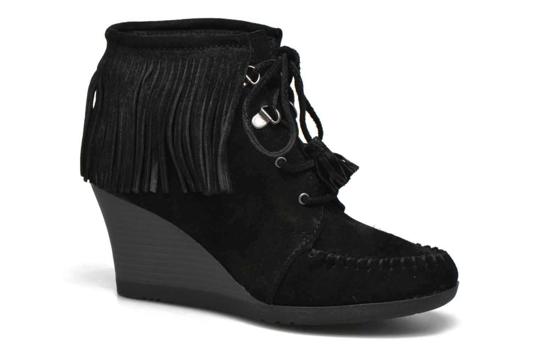 Bottines et boots Minnetonka Lace-Up Fringe Ankle Wedge Boot Noir vue détail/paire