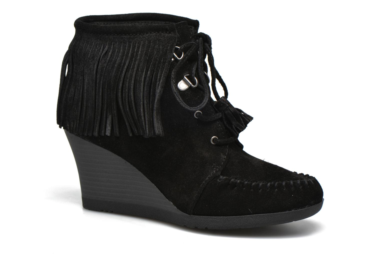 Zapatos promocionales Minnetonka Lace-Up Fringe Ankle Wedge Boot (Negro) - Botines    Casual salvaje
