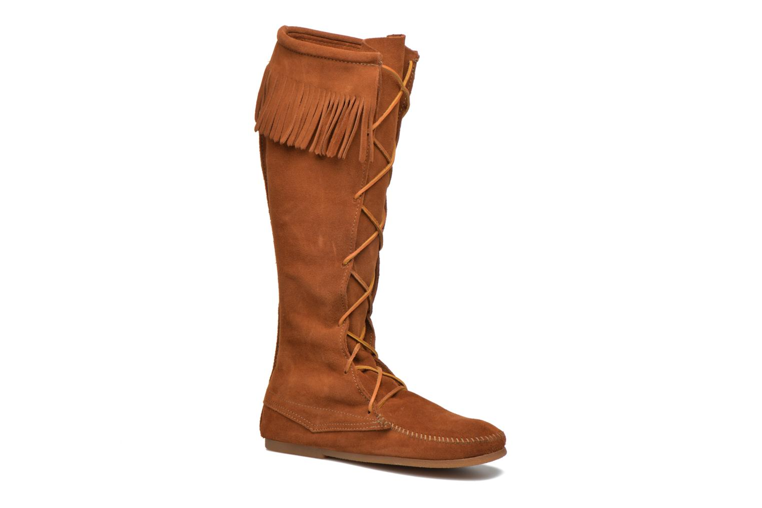 Front Lace Knee-Hi Boot Brown Suede