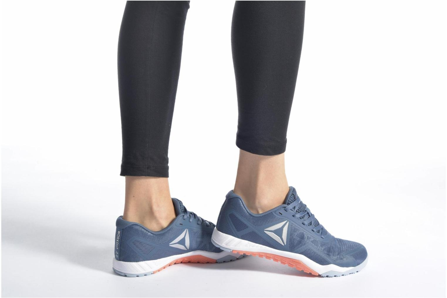 Sport shoes Reebok Ros Workout Tr 2.0 Blue view from underneath / model view