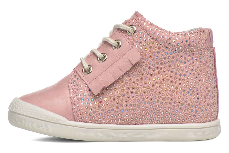 Chaussures à lacets Babybotte Frange Rose vue face