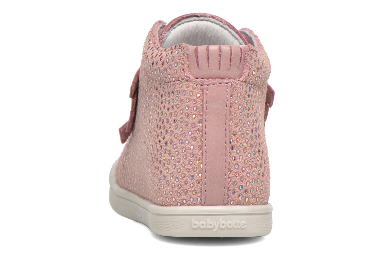 Chaussures à lacets Babybotte Frange Rose vue droite