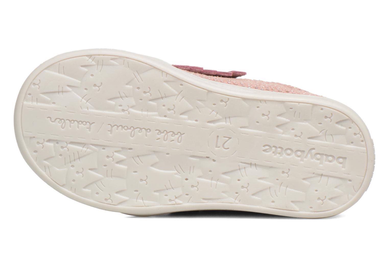Chaussures à lacets Babybotte Frange Rose vue haut