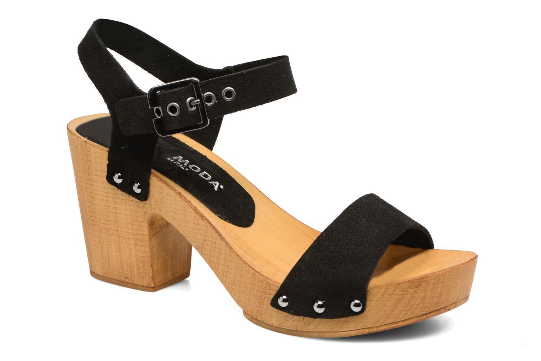 Zuecos Vero Moda Sima Leather Sandal Negro vista de detalle / par