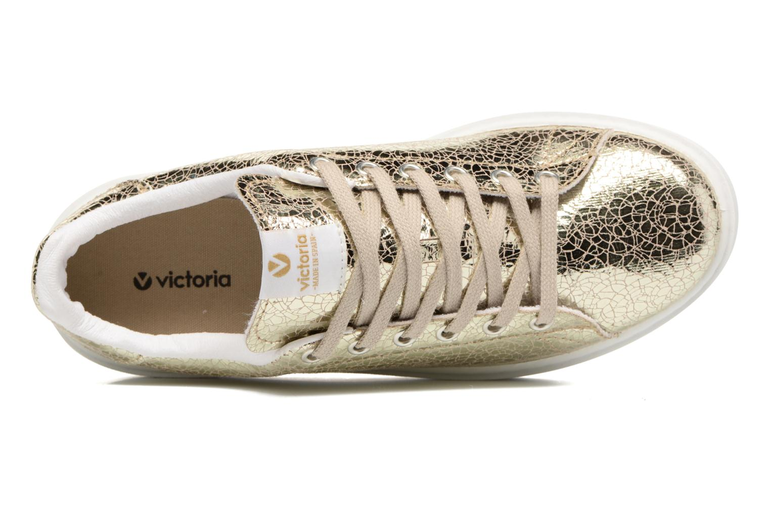 Trainers Victoria Deportivo Basket Tejido Met Bronze and Gold view from the left