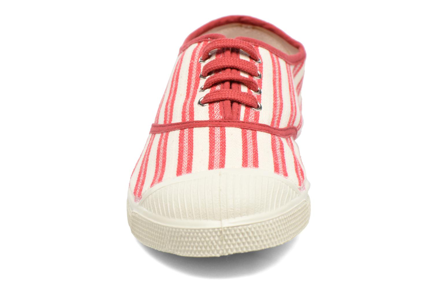 Trainers Bensimon Tennis Rayures Transat Red model view